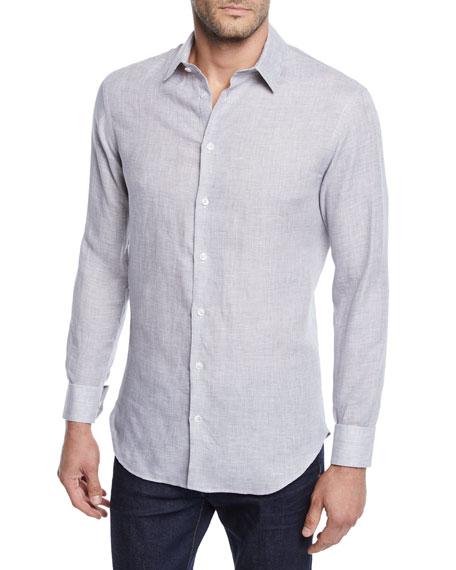 Giorgio Armani Men's Micro-Houndstooth Linen Sport Shirt, Light