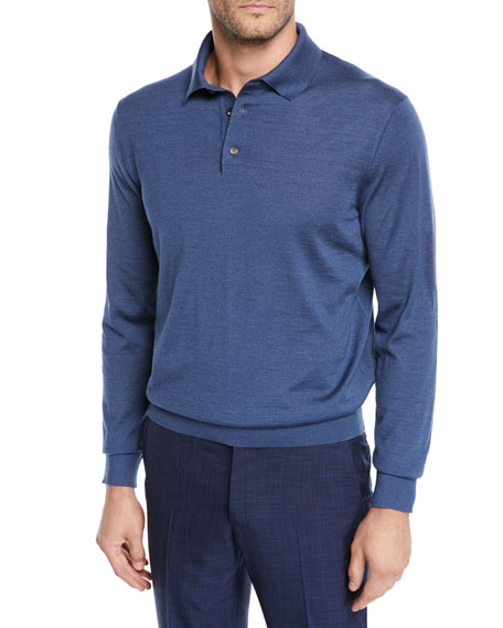 Ermenegildo Zegna Men's Cashmere/Silk Long-Sleeve Polo Sweater