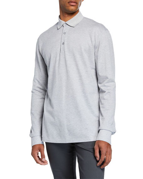 Ermenegildo Zegna Men's Textured Long-Sleeve Polo Shirt, Light
