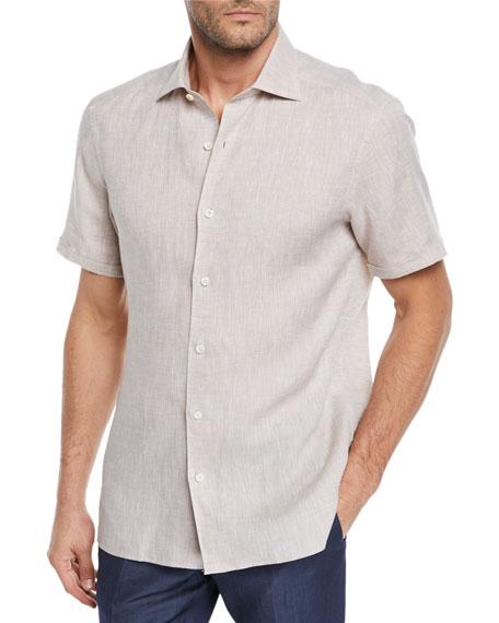 Men's Short-Sleeve Linen Sport Shirt