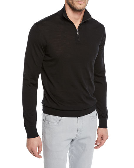 Men's Mock-Neck Quarter-Zip Sweater