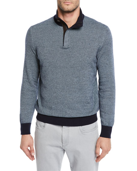 Men's Textured-Knit Mock-Neck Sweater