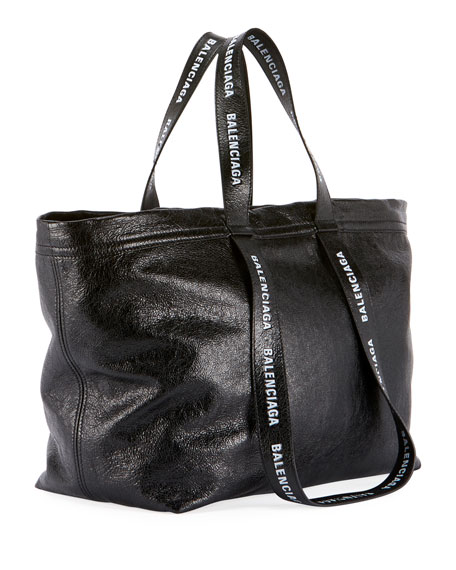 Men's Small Logo-Print Leather Carry Shopper Tote Bag