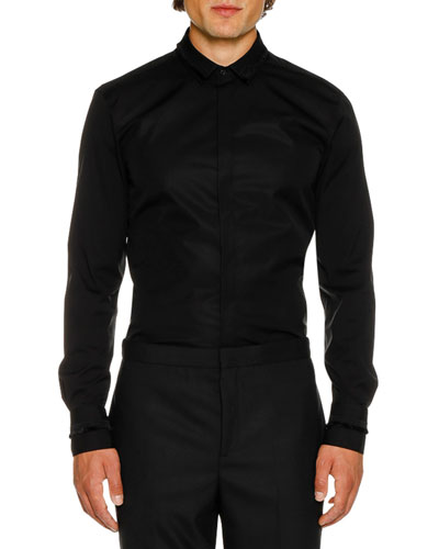 Men's Tuxedo Fringed Grosgrain Long-Sleeve Shirt