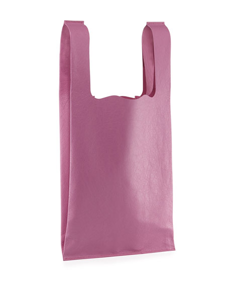 Men's All Gender Leather Grocery Tote Bag