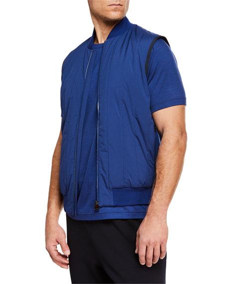 Z ZEGNA-TECHMERINO Men'S Quilted Zip-Front Vest in Medium Blue