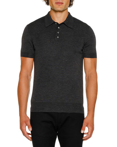 Men's Short-Sleeve Knitted Polo Shirt