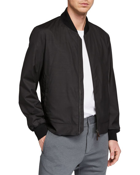 Ermenegildo Zegna Jackets MEN'S WOOL-BLEND PACKABLE BOMBER JACKET