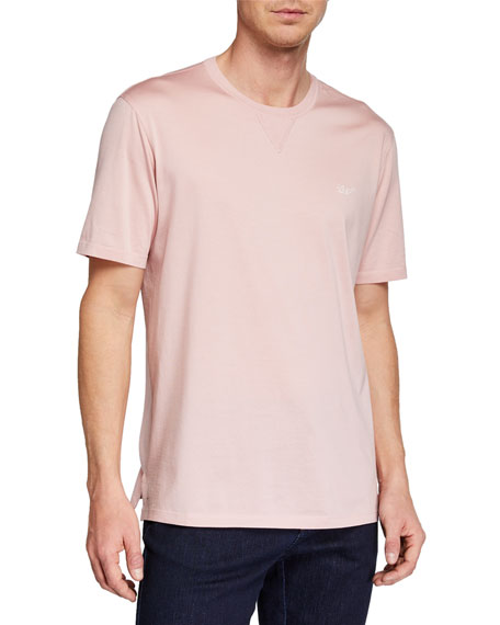 Ermenegildo Zegna Men's Embroidered-Logo T-Shirt, Light Pink