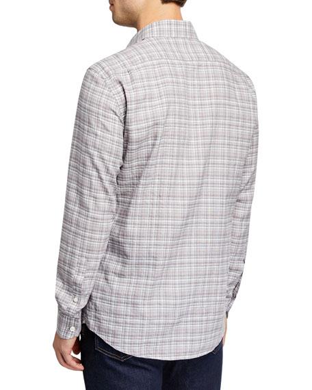 Men's Two-Tone Plaid Linen-Cotton Sport Shirt