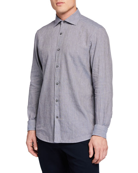 Men's Long-Sleeve Houndstooth Sport Shirt