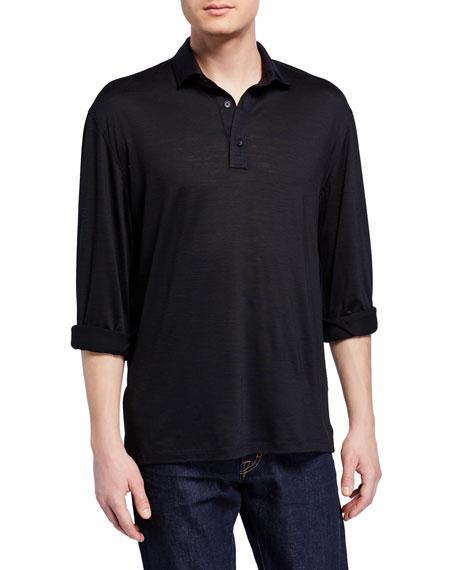 Ermenegildo Zegna Men's Lightweight Wool Long-Sleeve Polo Shirt,