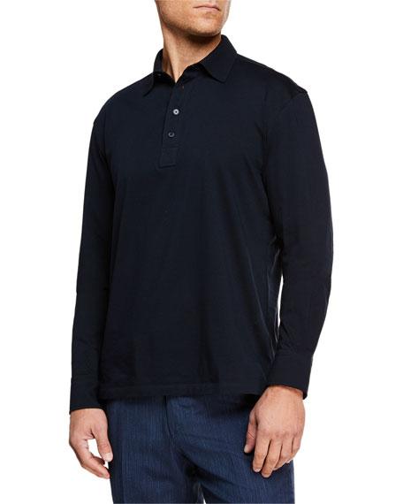 Ermenegildo Zegna Men's Long-Sleeve Cotton Polo Shirt