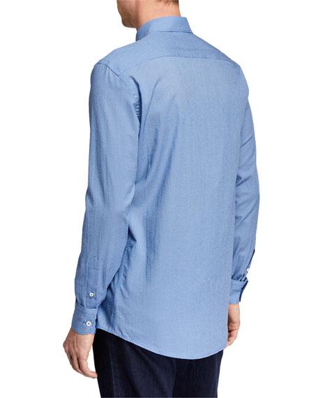 Men's Micro-Print Circles Button-Down Woven Shirt