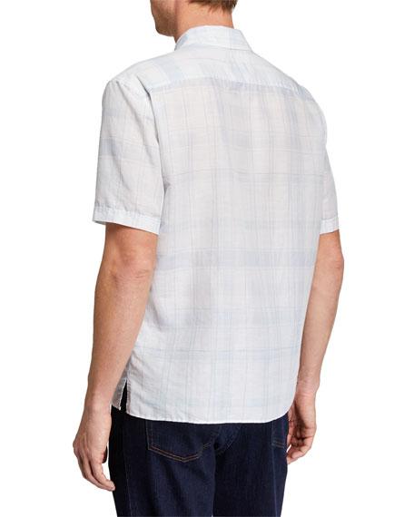 Men's Striped Linen-Blend Short-Sleeve Sport Shirt