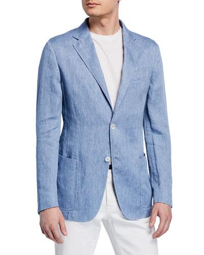 Men's Linen Two-Button Jacket