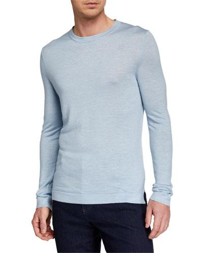 Men's Cashmere-Blend Crewneck Sweater  Blue