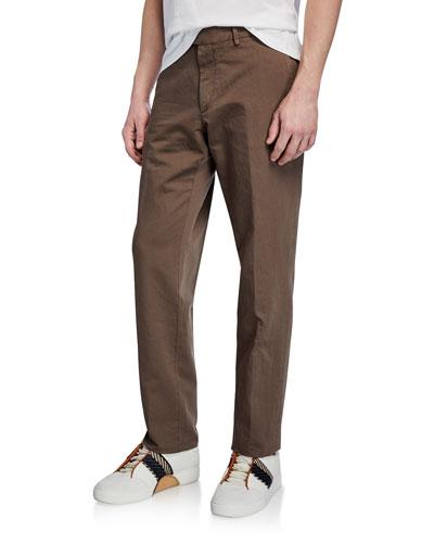 Men's Linen-Blend Straight-Leg Trousers