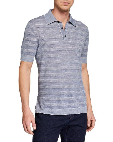 Ermenegildo Zegna Men's Striped Polo Shirt, Medium Blue