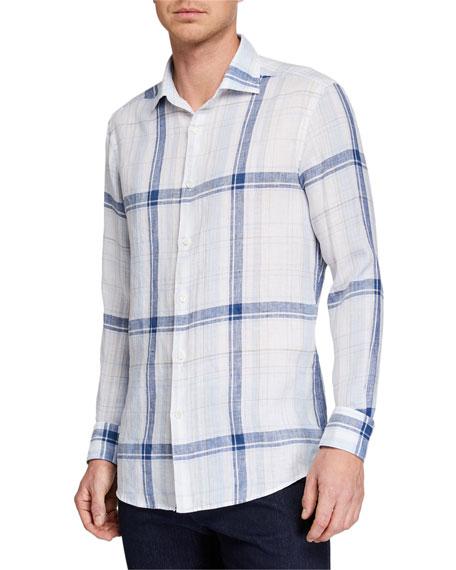 Men's Plaid Linen Sport Shirt