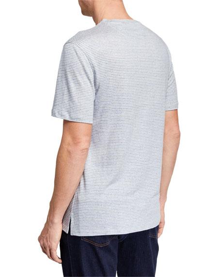 Men's Crewneck Striped Linen T-Shirt