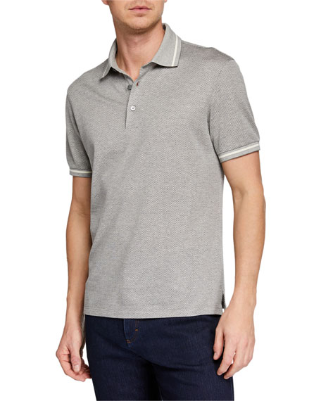 Ermenegildo Zegna Men's Heathered-Knit Polo Shirt