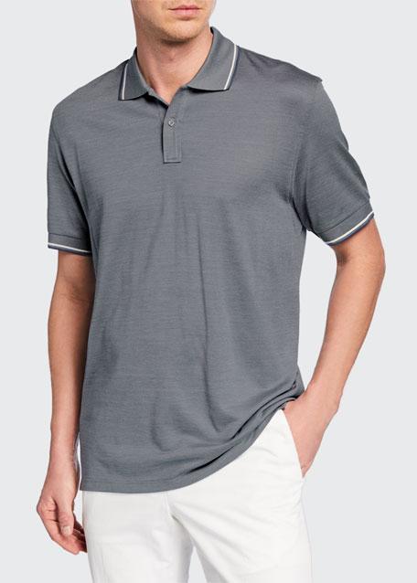 Ermenegildo Zegna T-shirts MEN'S TIPPED COTTON/SILK POLO SHIRT