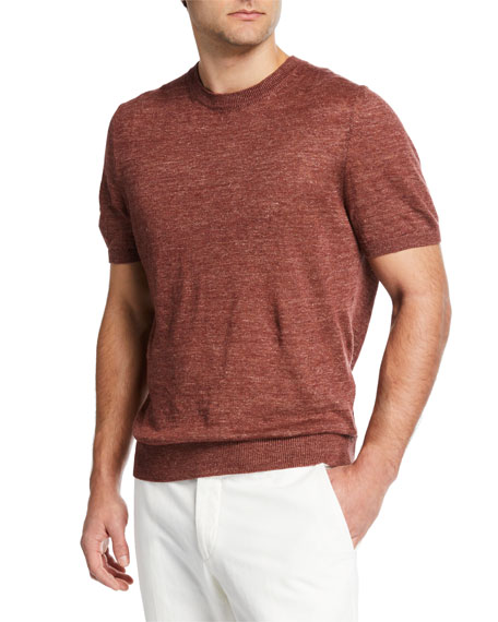 Ermenegildo Zegna Men's Linen-Cotton Crewneck T-Shirt