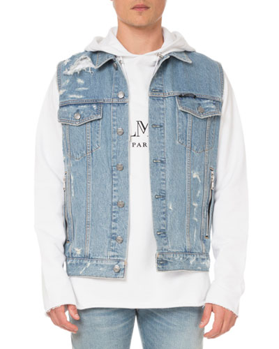 Men's Destroyed Denim Vest