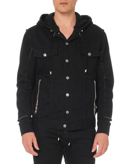 Balmain Men's Hooded Denim and Jersey Jacket