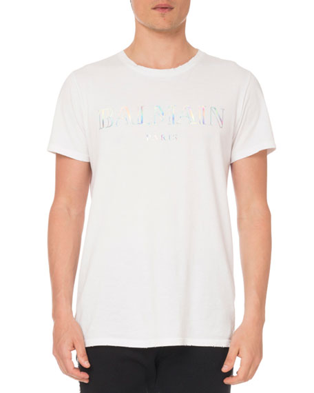 Balmain Men's Holographic Logo T-Shirt