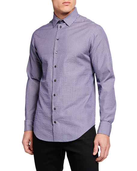 Giorgio Armani Men's Micro Stripe Seersucker Sport Shirt