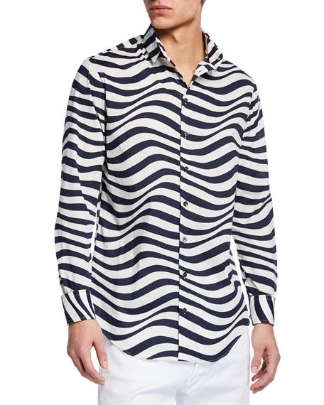 Giorgio Armani Men's Fancy Print Poplin Shirt