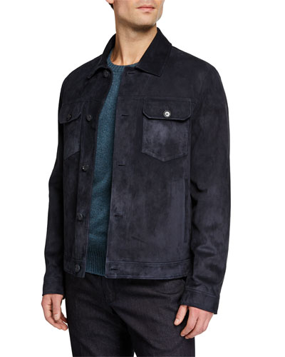 Men's Stafford Suede Trucker Jacket