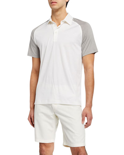 2b5053145370d Men s Two-Tone Silk Cotton Jersey Polo Shirt