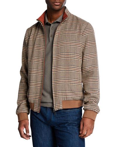 Men's Pacific Reversible Bomber Houndstooth Jacket