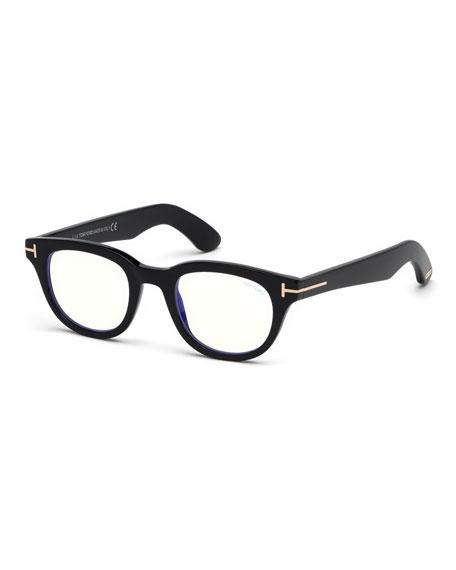 Men'S Rectangular Plastic Blue-Block Glasses in Black Pattern