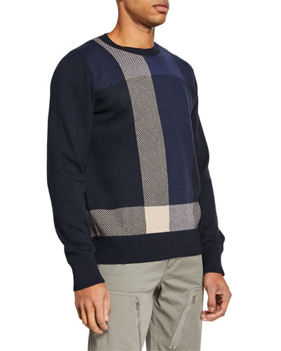 Men's Marshall Cotton/Cashmere Plaid Crewneck Sweater