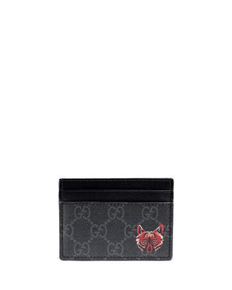 7d500838b20 Gucci Wolf-Print GG Supreme Card Case