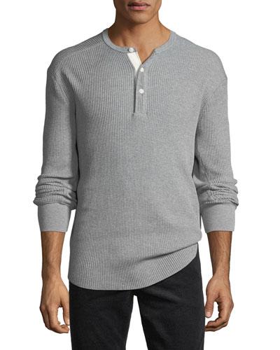 Men's Waffle-Knit Henley Shirt