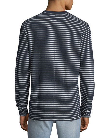 Men's Pin-Thin Striped Long-Sleeve T-Shirt