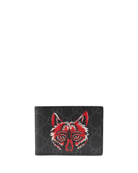 1776628ebf3f Gucci Men's Wolf-Print GG Supreme Wallet