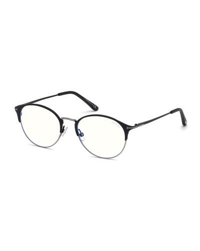 Men's Round Metal/Plastic Half-Rim Optical Glasses