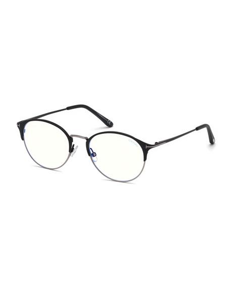 Men'S Round Metal/Plastic Half-Rim Optical Glasses in Black Pattern