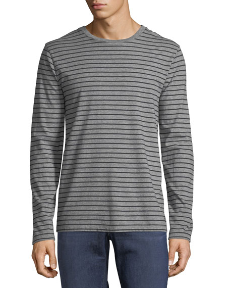 Men's Long-Sleeve Striped Cotton T-Shirt