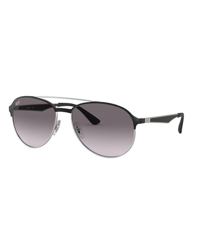 Men's Round Gradient Metal Aviator Sunglasses