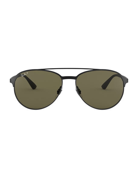 d1985b850a8 Ray-Ban Men s Round Polarized Metal Aviator Sunglasses