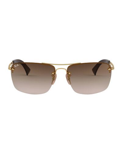 Men's Half-Rim Metal Sunglasses with Gradient Lenses