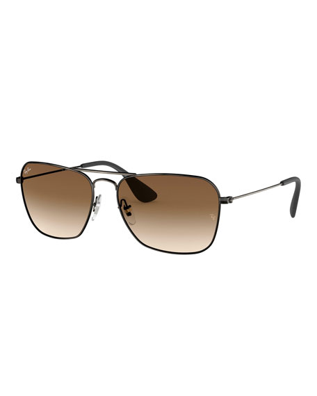 de556238fd1391 Ray-Ban Men's Rectangular Metal Sunglasses with Gradient Lenses