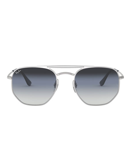 Men's Hexagonal Metal Sunglasses with Gradient Lenses